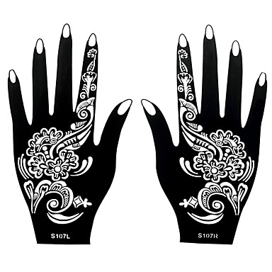 2pcs henna airbrush stencil nontoxic temporary printing for Henna temporary tattoo stencils