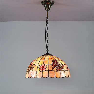 14 inch retro tiffany pendant lights shell shade living room dining room ligh. Black Bedroom Furniture Sets. Home Design Ideas