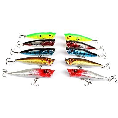Lot 10 pcs 9cm 12g fishing lure set kit bass minnow popper for Bass fishing lure kits