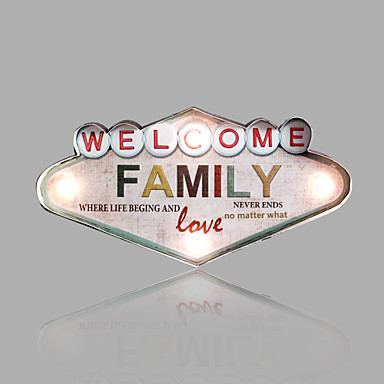 E Home Metal Wall Art Led Wall Decor Famliy Theme Led