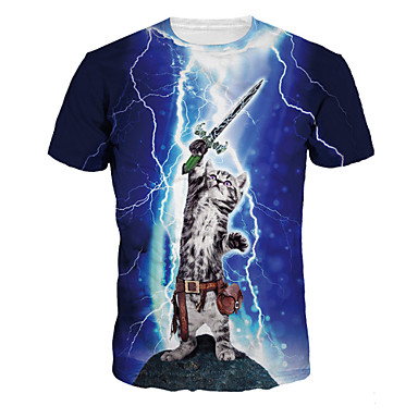 Buy 3D T-shirt Cool Fighting Cat Print Cosplay Costumes Geeky Clothing Round Neck Short Sleeves Male/Female