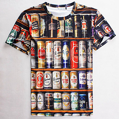Buy 3D T-shirt Beer Print Cosplay Costumes Geeky Clothing Round Neck Short Sleeves Male/Female