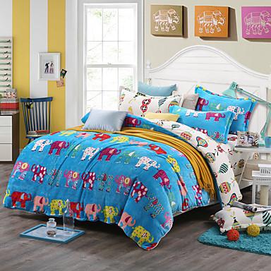 Elephant Print Bedlinen Fleece winter bedding set queen