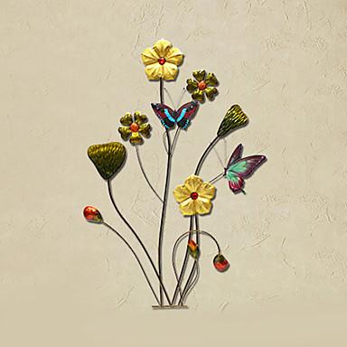 Buy E-HOME® Metal Wall Art Decor,Colorful Flowers Butterflies Decor One PCS