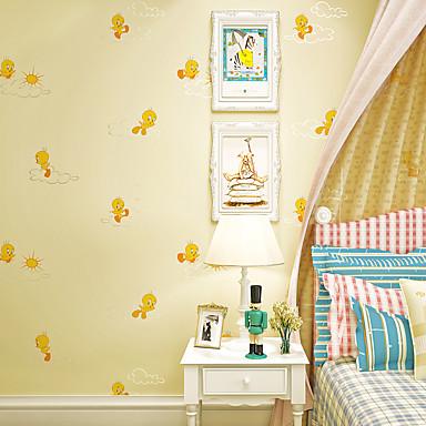 Cozy Pink Yellow Children Wallpaper Kids Room Bedroom