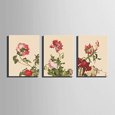 Toile set a fleurs botanique style europ en trois panneaux for Decoration murale verticale