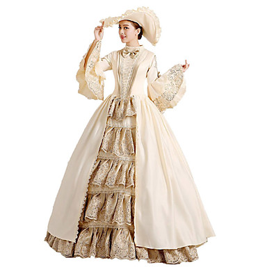 Rococo Baroque Victorian Dress Ball Gown Women\'s Girls\' Lace Cotton Party  Prom Japanese Cosplay Costumes Plus Size Customized Beige Ball Gown Floral  ...