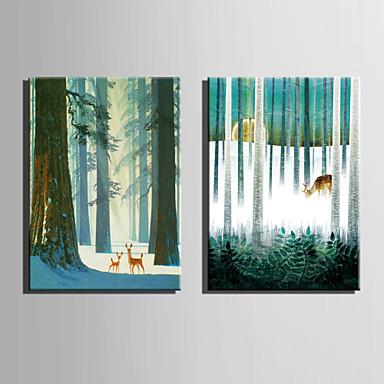 Toile set paysage animal style europ en deux panneaux for Decoration murale verticale