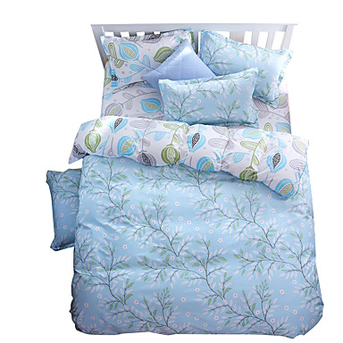 mingjie wonderful light blue leaves bedding sets 4pcs for. Black Bedroom Furniture Sets. Home Design Ideas