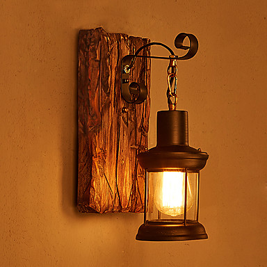 Single Head Industrial Vintage Retro Wooden Metal Painting Color Wall lamp for the Home / Hotel ...