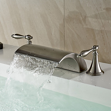Contemporary Modern Widespread Waterfall With Ceramic