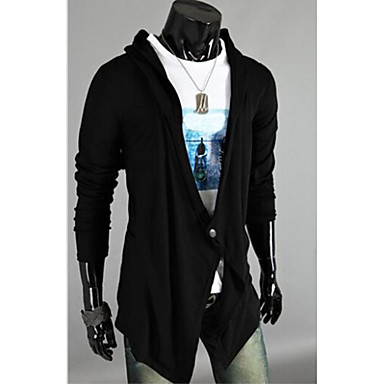 Men's Casual/Daily Long Cardigan,Solid Long Sleeve Cotton