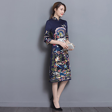 Sign 2017 retro print dress collar to increase Chinese style improved cheongsam dress Ms. long section