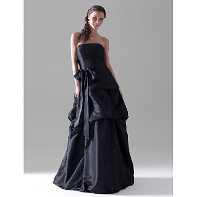 LAN TING BRIDE Floor-length Strapless Bridesmaid Dress Sleeveless Taffeta