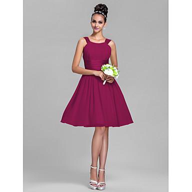 LAN TING BRIDE Knee-length Chiffon / Stretch Satin Bridesmaid Dress - A-line Straps Plus Size / Petite