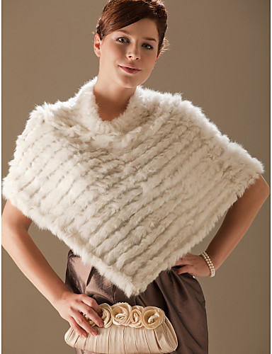 Genuine Rabbit Fur/ Fox Fringed Fur Poncho/ Wraps 79352 2016 – $31
