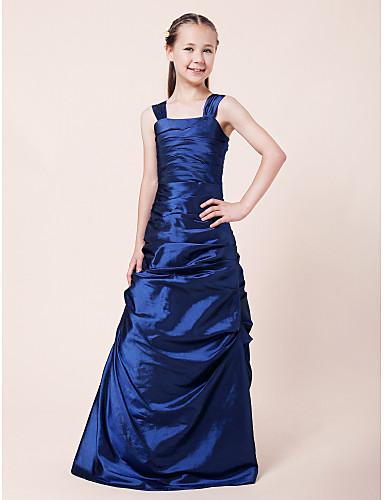 Buy Lanting Bride Floor-length Taffeta Junior Bridesmaid Dress A-line / Princess Straps Natural Side Draping Ruching