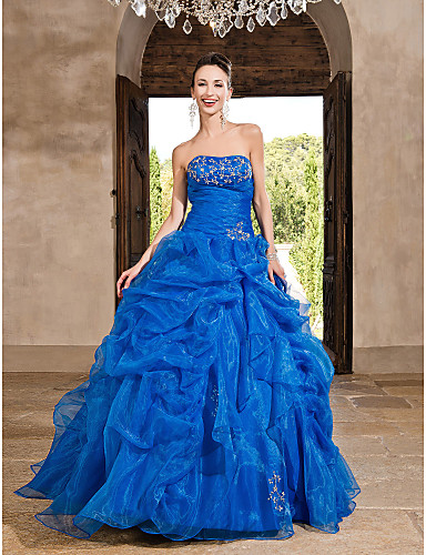 Buy TS Couture® Prom / Formal Evening Quinceanera Sweet 16 Dress - Ocean Blue Plus Sizes Petite Princess A-line Ball Gown Strapless Floor-length