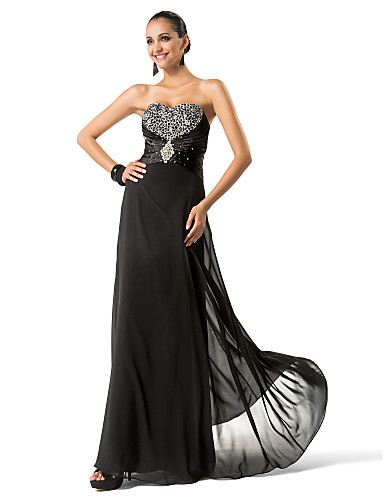 Buy TS Couture® Formal Evening / Military Ball Dress - Sparkle & Shine Plus Size Petite Sheath Column Strapless Sweetheart Floor-length Chiffon
