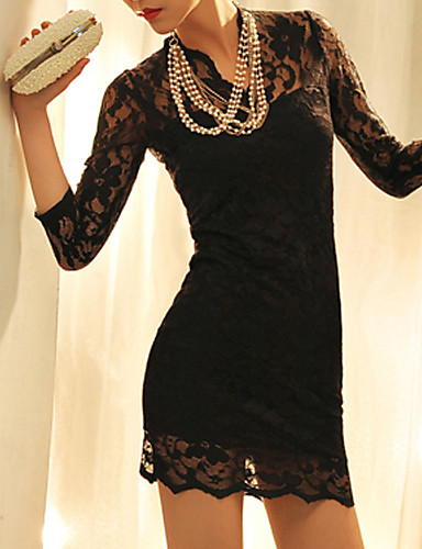 Manshuni Винтаж 3/4 рукав кружевном платье (черный)