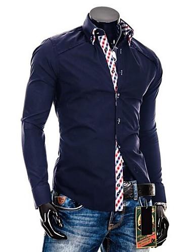 Buy Zian® Men's Double Collar Placket Fashion Check Contrast Color Casual Long Sleeve Shirt O