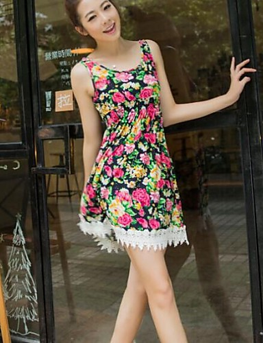 Buy Women's Casual/Daily Vintage Line Dress,Floral U Neck Knee-length Sleeveless Blue / Red Cotton Summer