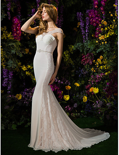 Mermaid wedding dresses for petite brides : Lanting bride? trumpet mermaid petite wedding dress