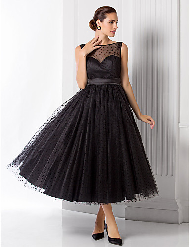 Buy TS Couture® Formal Evening Dress - See / 1950s Plus Size Petite A-line Princess Bateau Tea-length Tulle Sash Ribbon