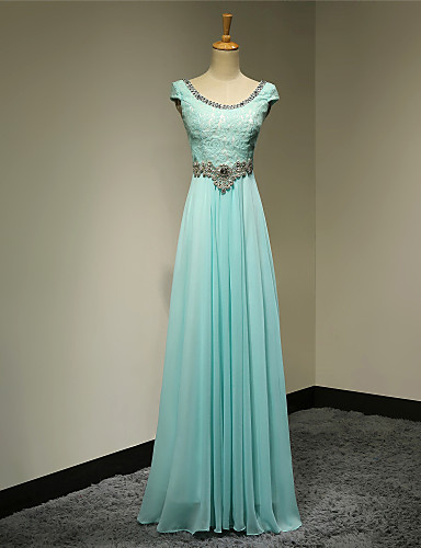 Buy Formal Evening Dress A-line Scoop Floor-length Chiffon Beading