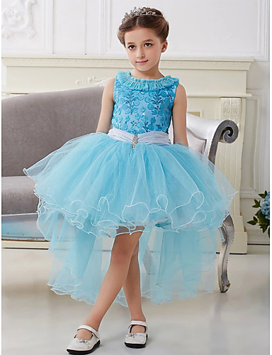 vestidos tejidos para niña con tul