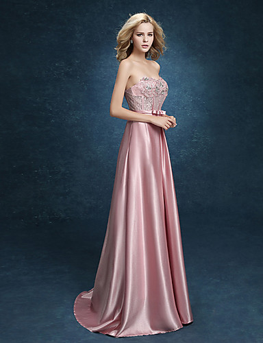 Buy Formal Evening Dress A-line Sweetheart Floor-length Stretch Satin Bow(s)