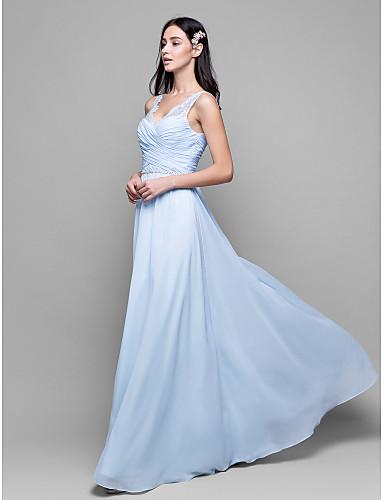 Lanting Bride® Ankle-length Chiffon / Lace Bridesmaid Dress - Sheath ...