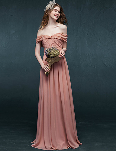 Buy Formal Evening Dress A-line Off-the-shoulder Floor-length Chiffon Pleats
