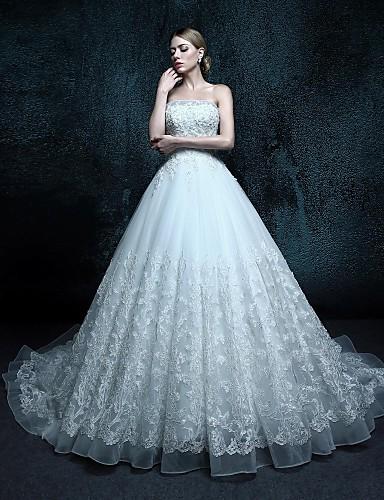 trap ze robe de mariage tra ne chapelle sans bretelles tulle avec de 4066058 2016. Black Bedroom Furniture Sets. Home Design Ideas
