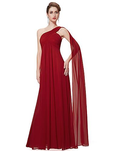 Long bridesmaid dress chiffon shown graphite ruby
