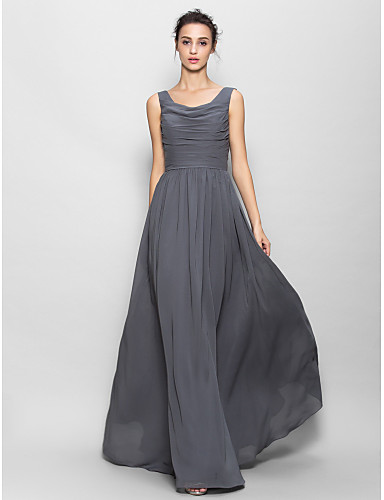 Buy Floor-length Chiffon Bridesmaid Dress A-line Scoop Ruching