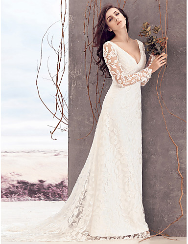 Buy Lanting Bride Sheath/Column Wedding Dress-Court Train V-neck Lace