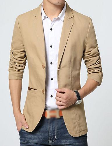 blazer pour des hommes couleur plaine d contract coton manches longues noir beige brun. Black Bedroom Furniture Sets. Home Design Ideas