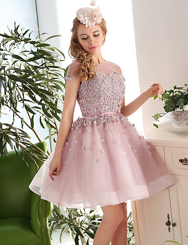 Buy Cocktail Party Dress Ball Gown Jewel Knee-length Lace / Tulle Appliques Beading Flower(s)