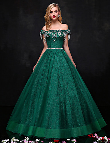 Buy Formal Evening Dress A-line Strapless Floor-length Lace Beading / Crystal Detailing