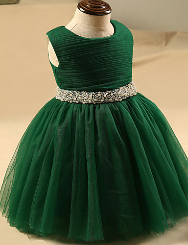 Buy A-line Knee-length Flower Girl Dress - Tulle Sleeveless Jewel