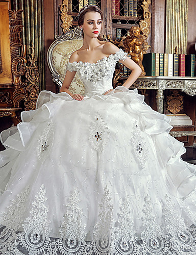 Buy A-line Wedding Dress Floor-length Off-the-shoulder Organza Appliques / Beading Crystal