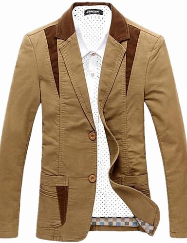 men 39 s patchwork casual work plus sizes blazer cotton. Black Bedroom Furniture Sets. Home Design Ideas