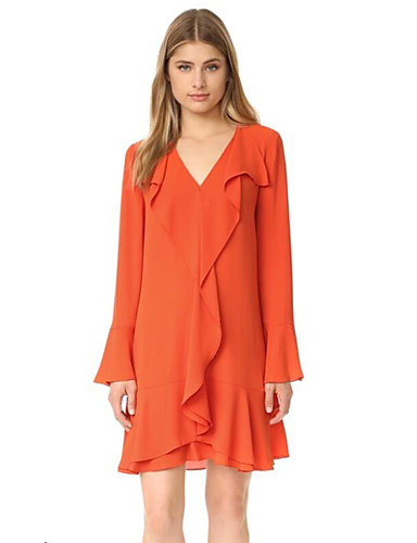Women's Casual/Daily Sophisticated Loose Dress,Solid V ... - photo#6