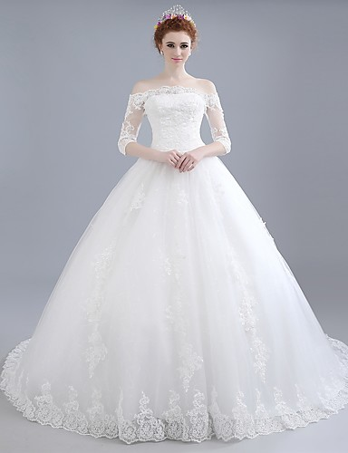 Ball Gown Wedding Dress Chapel Train Off The Shoulder Lace Satin Tulle With Lace 5121636