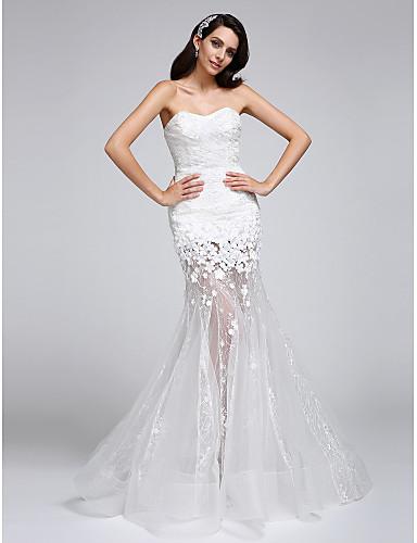 / robe de mariée sirène parole longueur sweetheart dentelle ...