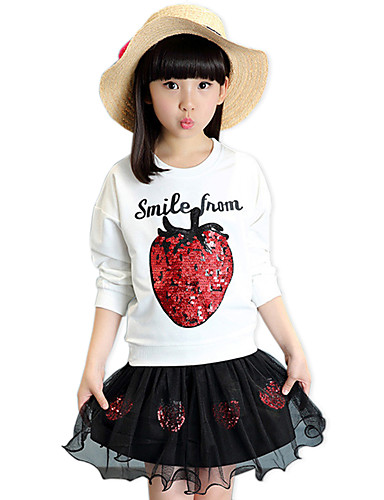 Buy Girl's Cotton Spring/Autumn Paillette Strawberry Long Sleeve Shirt Lace SKirt Casual/Daily Clothes Two-piece Set