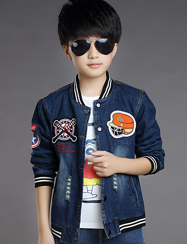 Buy Boy's Cotton Spring/Autumn Fashion Cartoon Patchwork Cowboy Outerwear Baseball Long Sleeve Sport Denim Jacket Coat