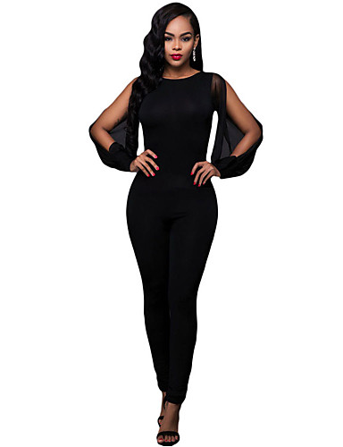 polyester spandex rekbaar dun vrouwen sexy jumpsuits lange mouw 5294353 2017. Black Bedroom Furniture Sets. Home Design Ideas