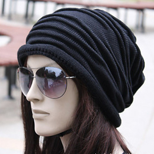 Unisex Work   Active Cotton Beanie   Slouchy - Solid Colored Pleated    Fabric   Winter d18f37542b2b